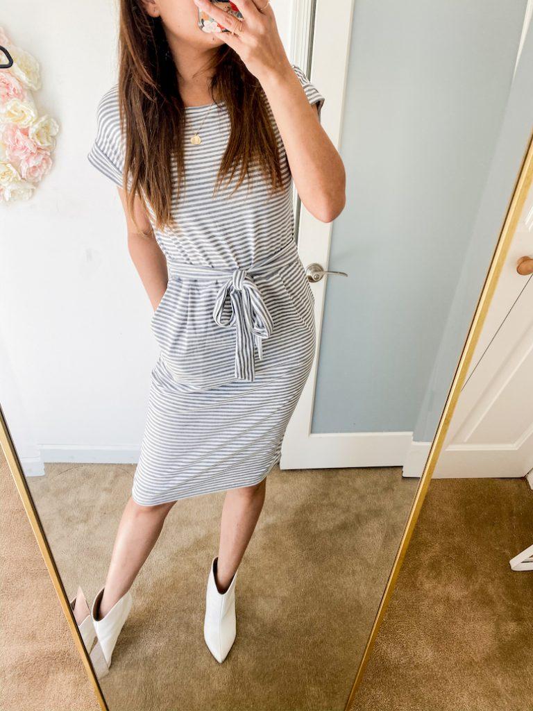 amazon fashion haul striped short sleeve dress
