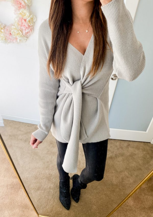 amazon fashion grey tie knot sweater