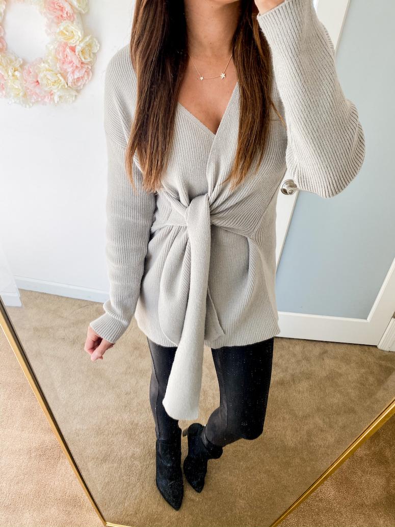amazon fashion grey tie knot sweater