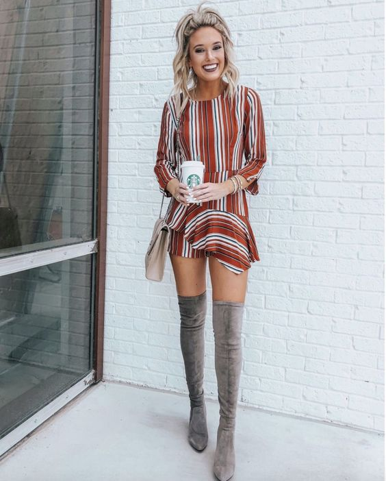 striped romper with grey otk boots