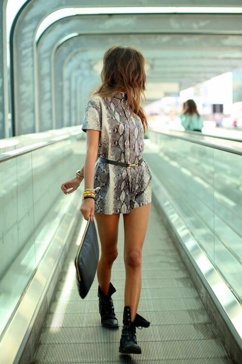 snakeskin romper with military boots outfit