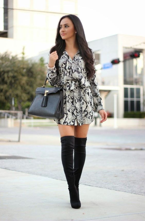 snakeskin romper outfit with black over the knee boots