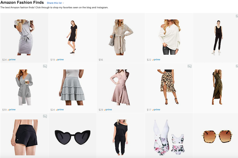 amazon fashion influencer storefront