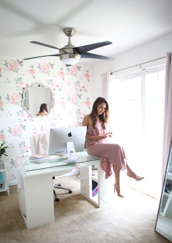 blogger office tour | pink feminine floral home office decor