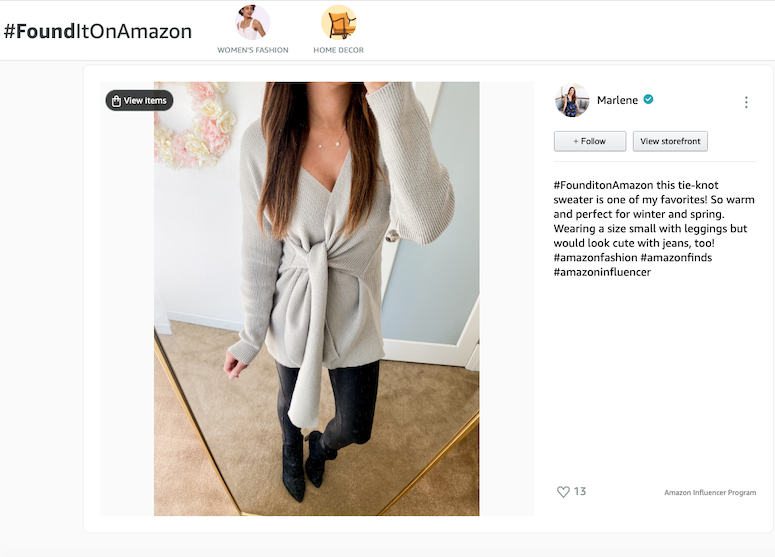 how to shop influencer storefront amazon