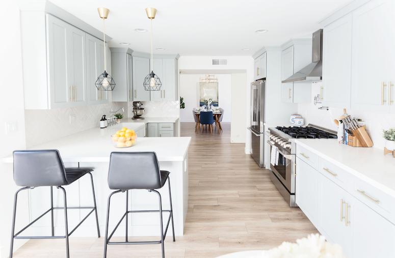 beautiful grey blue kitchen