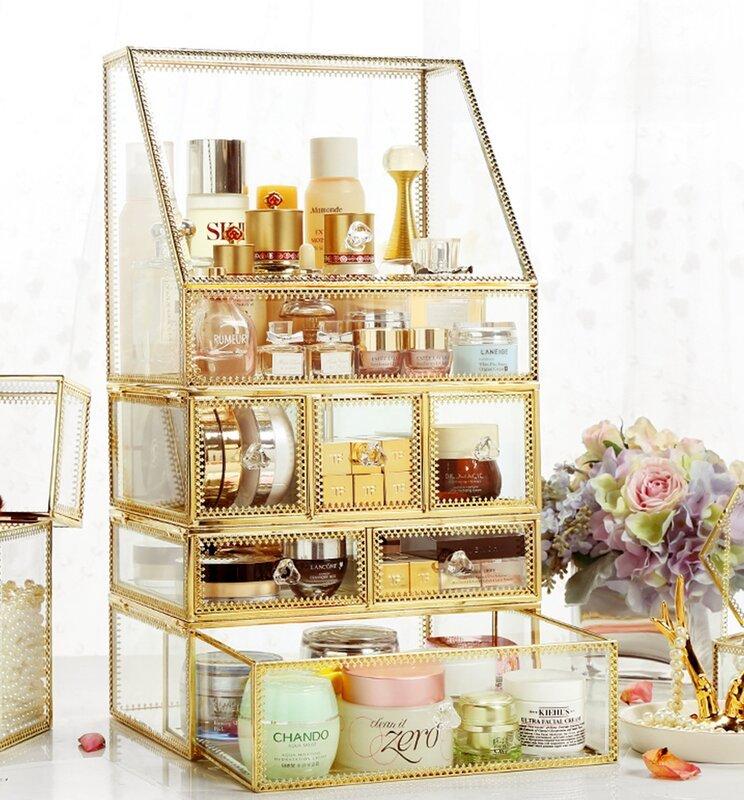 gold and glass makeup organizer