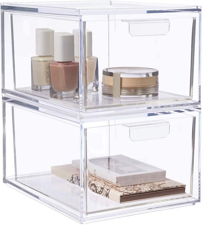 mdesign clear makeup storage drawers