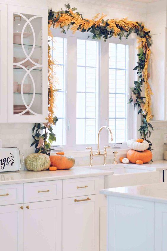 kitchen garland above sink and window