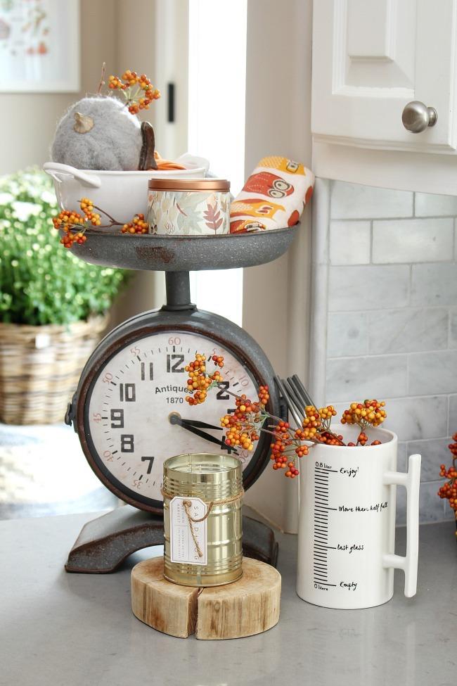 kitchen decor clock and scale fall