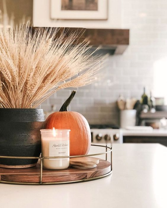fall kitchen deocr ideas for countertop
