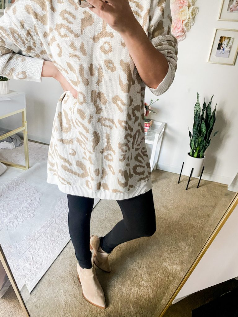 animal print sweater with leggings outfit