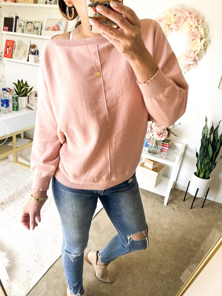 pink Amazon boatneck sweater