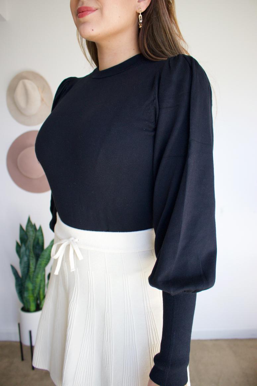 the drop black padded balloon sleeve sweater