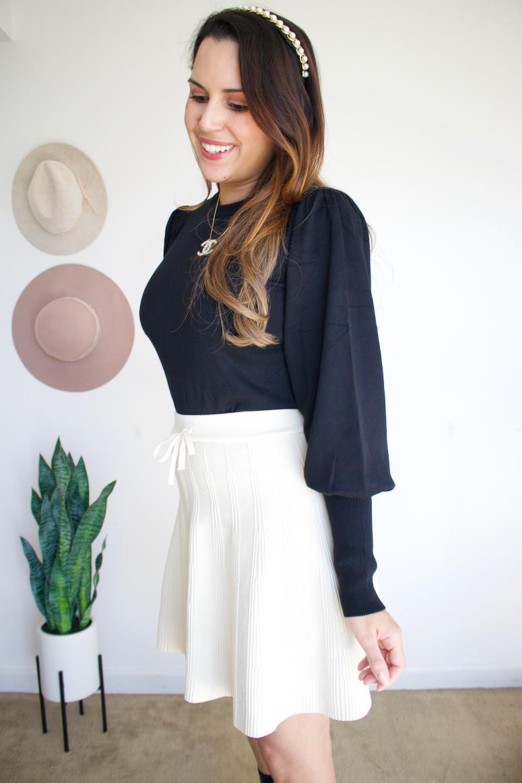the drop balloon sleeve black amazon sweater with skirt