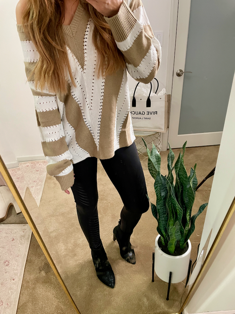 casual thanksgiving outfit idea striped amazon sweater with leggings