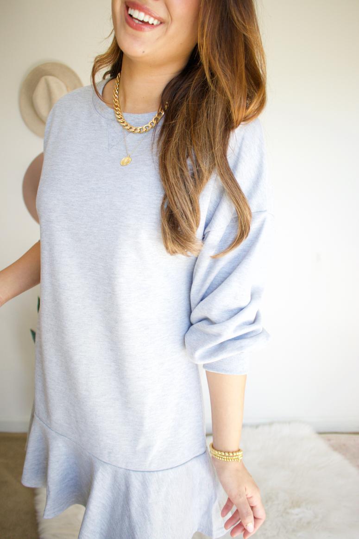 chicwish grey ruffle sweater dress