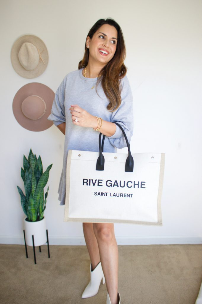 grey ruffle dress chicwish thanksgiving outfit idea with rive gauche tote saint laurent