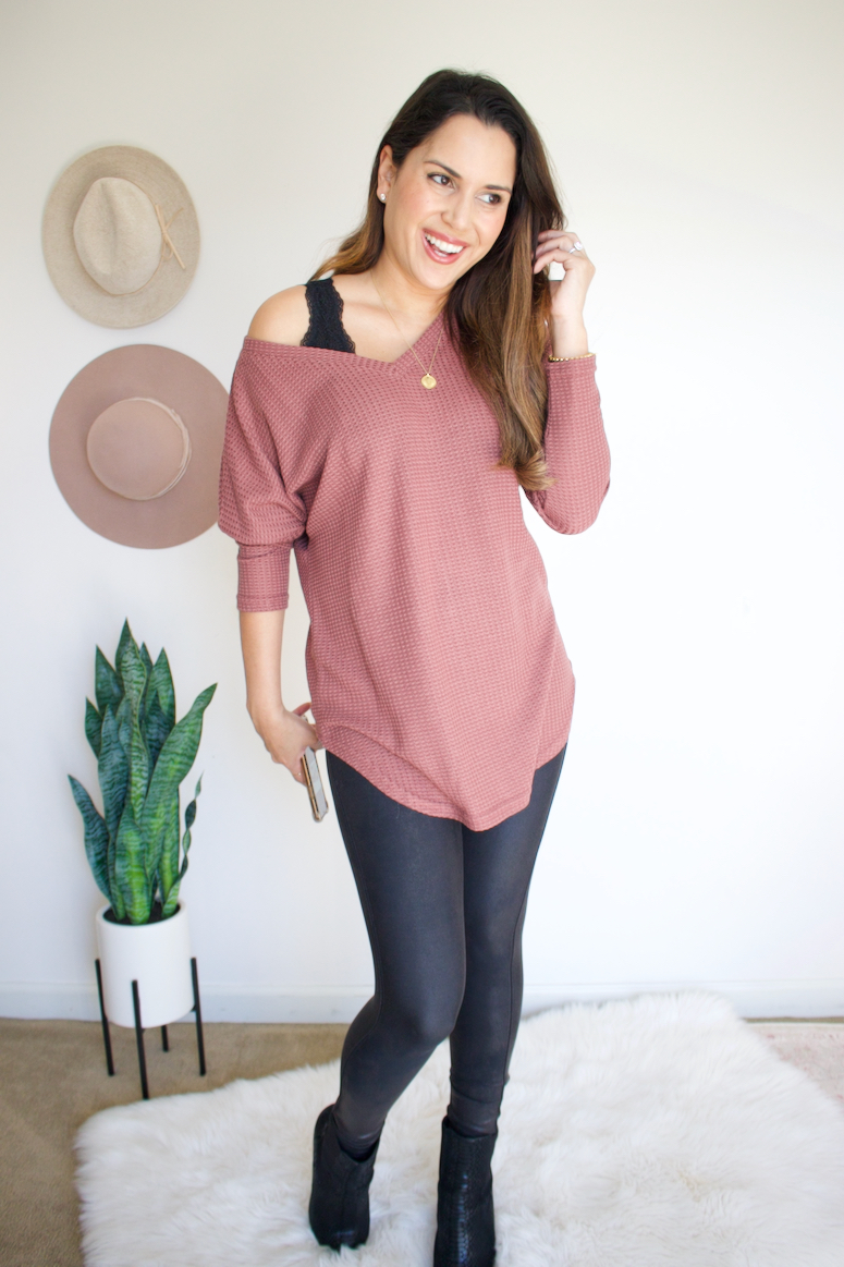 waffle knit sweater casual outfit