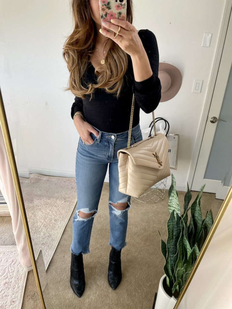 levis jeans and black bodysuit outfit