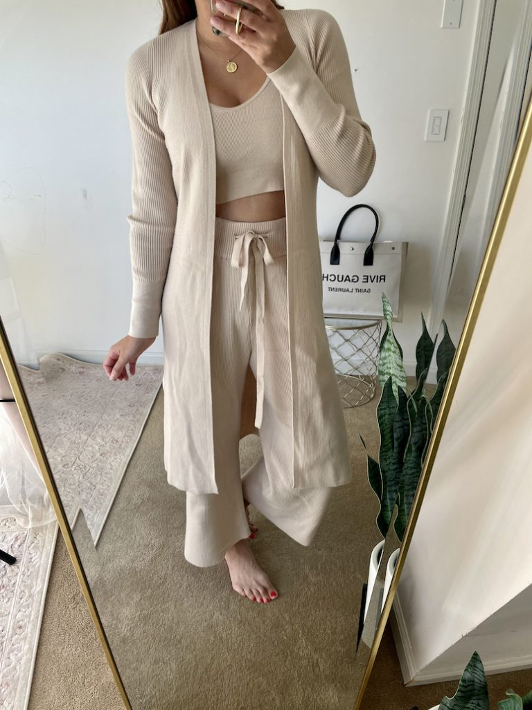 athflow matching set with crop top, long duster cardigan and flowy cropped knit pants abercrombie