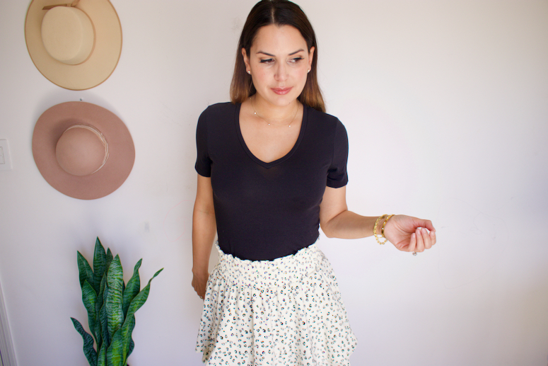 black t shirt with skirt outfit