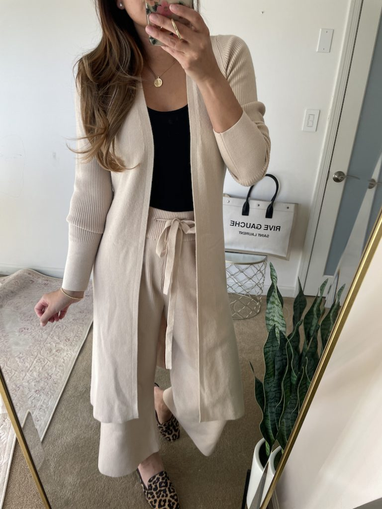 athflow cropped flowy pants and matching knit sweater abercrombie