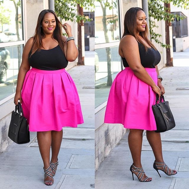 hot pink skirt outfit with black top