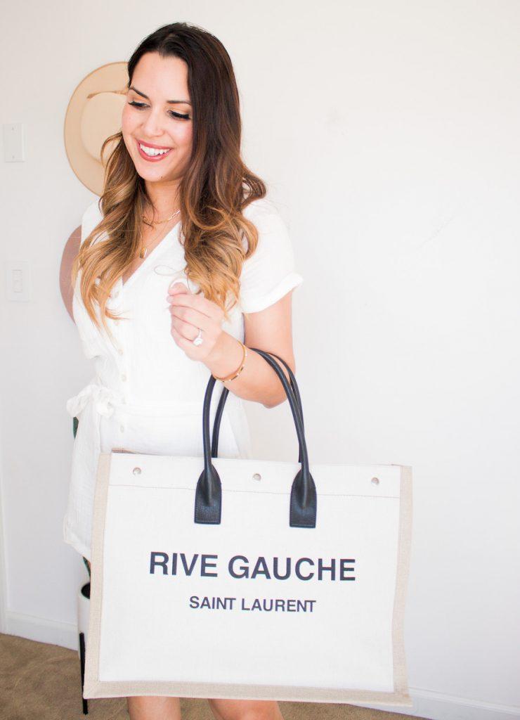 rive gauche saint lauren tote linen and leather review