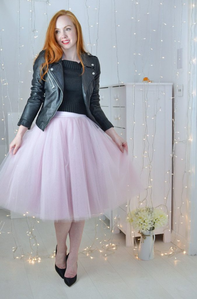 pink tutu with black leather jacket outfit