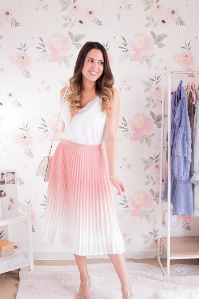 pink pleated midi skirt with white cami
