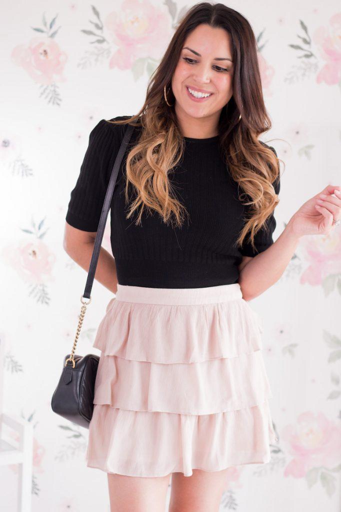 ruffled blush pink mini skirt