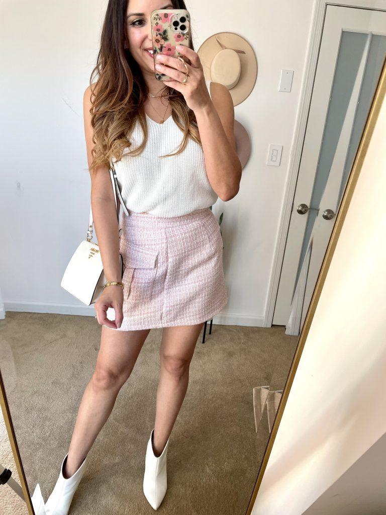 chicwish pink tweet mini skirt