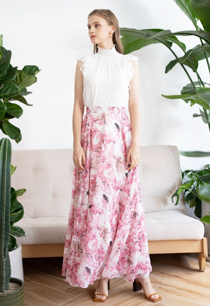 floral print pink maxi skirt outfit