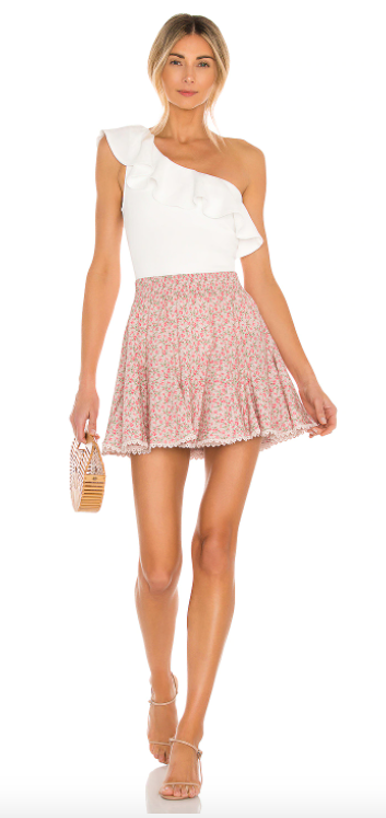 floral print pink skirt outfit
