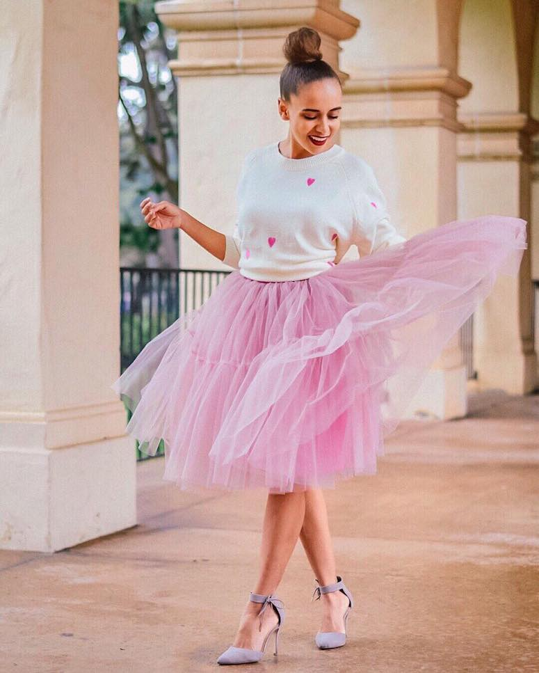 outfits with pink skirts: tutu and sweater