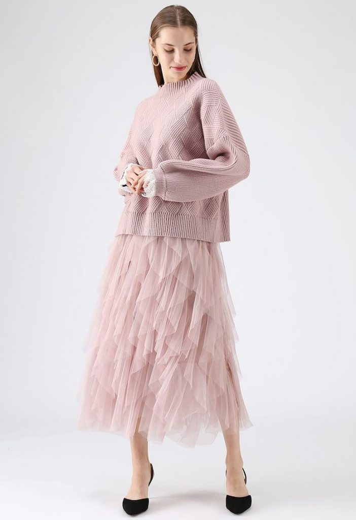 chicwish pink tutu and sweater outfit
