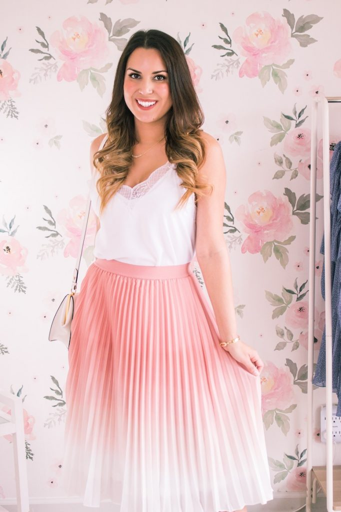 outfits with pink skirts: pink pleated midi skirt