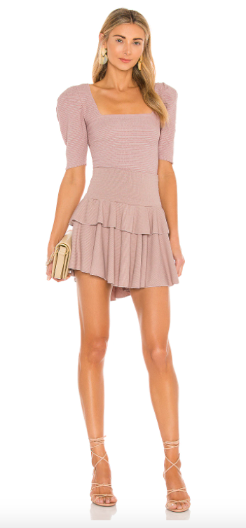 pink ruffle skirt with pink top