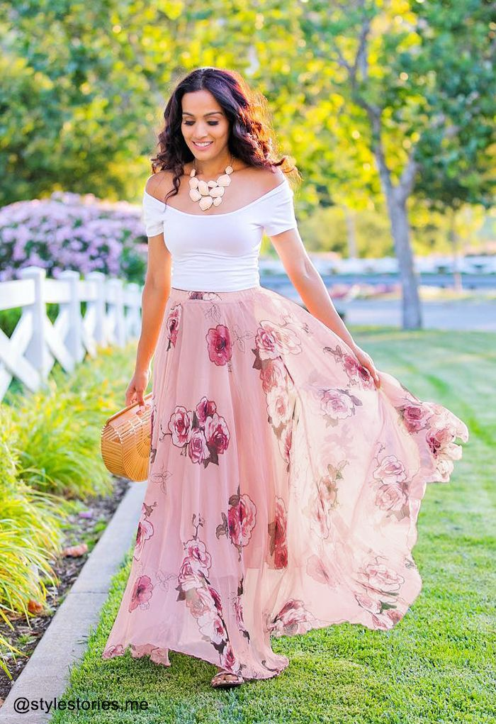 floral pink maxi skirt outfit