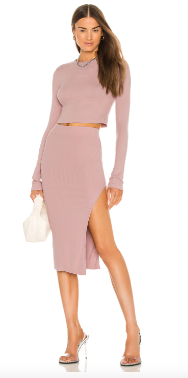 how to wear pink skirts: pink pencil skirt outfit