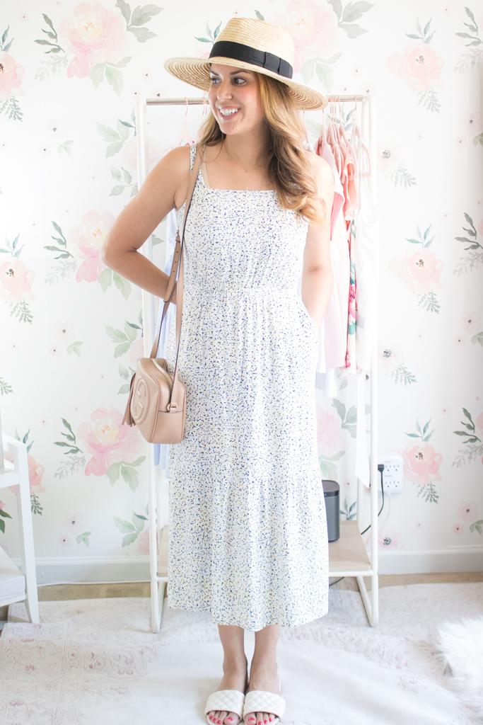 amazon essentials tiered midi dress review