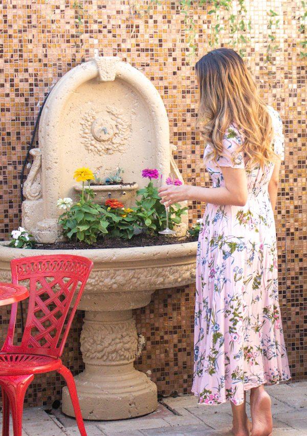 outdoor patio fountain as planter