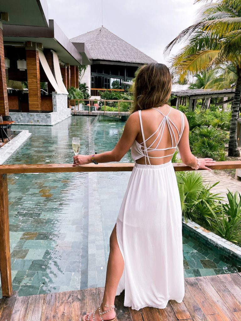 backless white summer maxi dress from Lulus