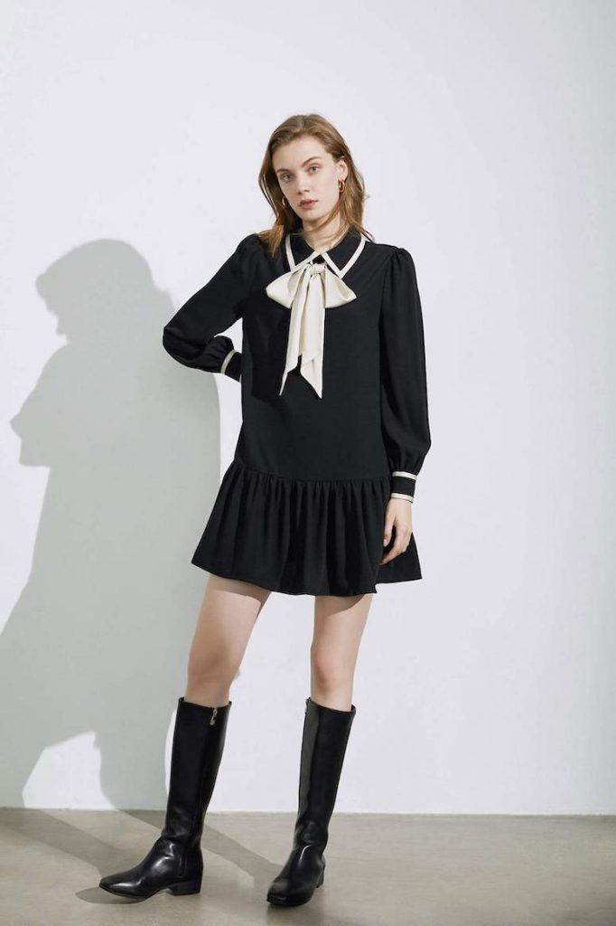 jing black bow dress