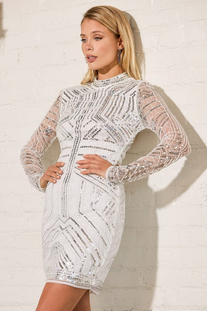 white sequin dress new years white party outfit idea