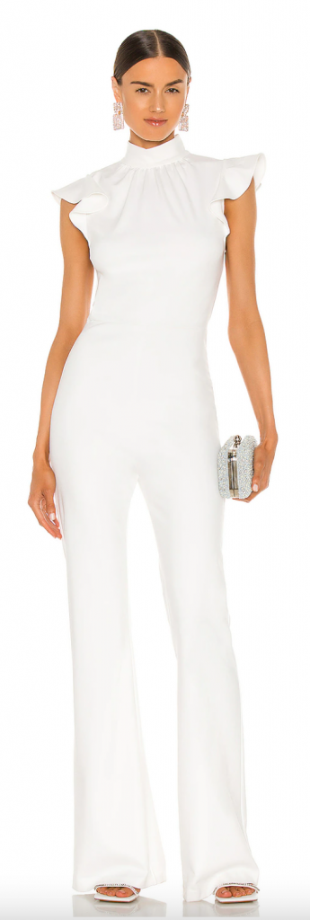 white party outfit white ruffle jumpsuit