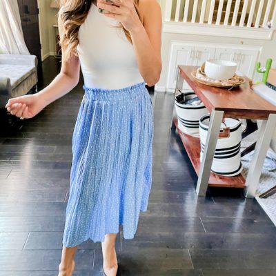 blue skirt best amazon pleated midi skirt