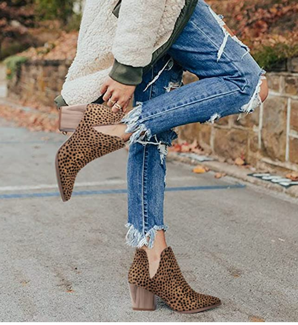 leopard print ankle boots outfits