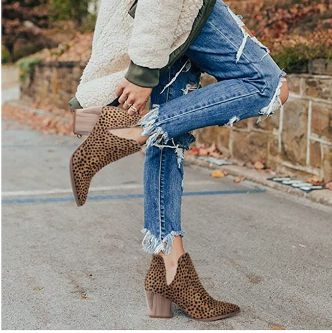 leopard print boots with jeans outfit